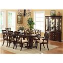 Crown Mark Katherine 9 Piece Pedestal Table & Upholstered Dining Chairs Set - Shown with China Cabinet