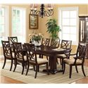 Crown Mark Katherine Double Pedestal Dining Table with 2 Extension Leaves - Shown with Arm & Side Chairs