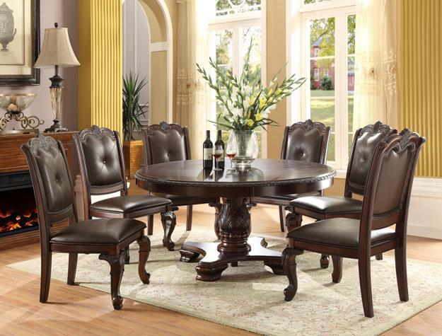 Crown Mark Kiera Round Table with Six Chairs - Item Number: 2150-60-TOP+LEG+6x2150S