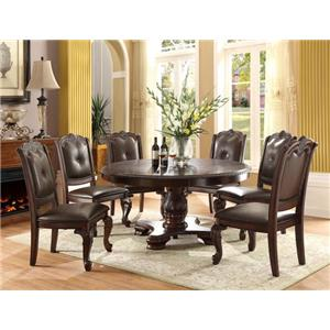 Crown Mark Kiera Round Table with Six Chairs