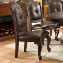 Crown Mark Kiera Traditional Dining Side Chair with Upholstered Seat and Back