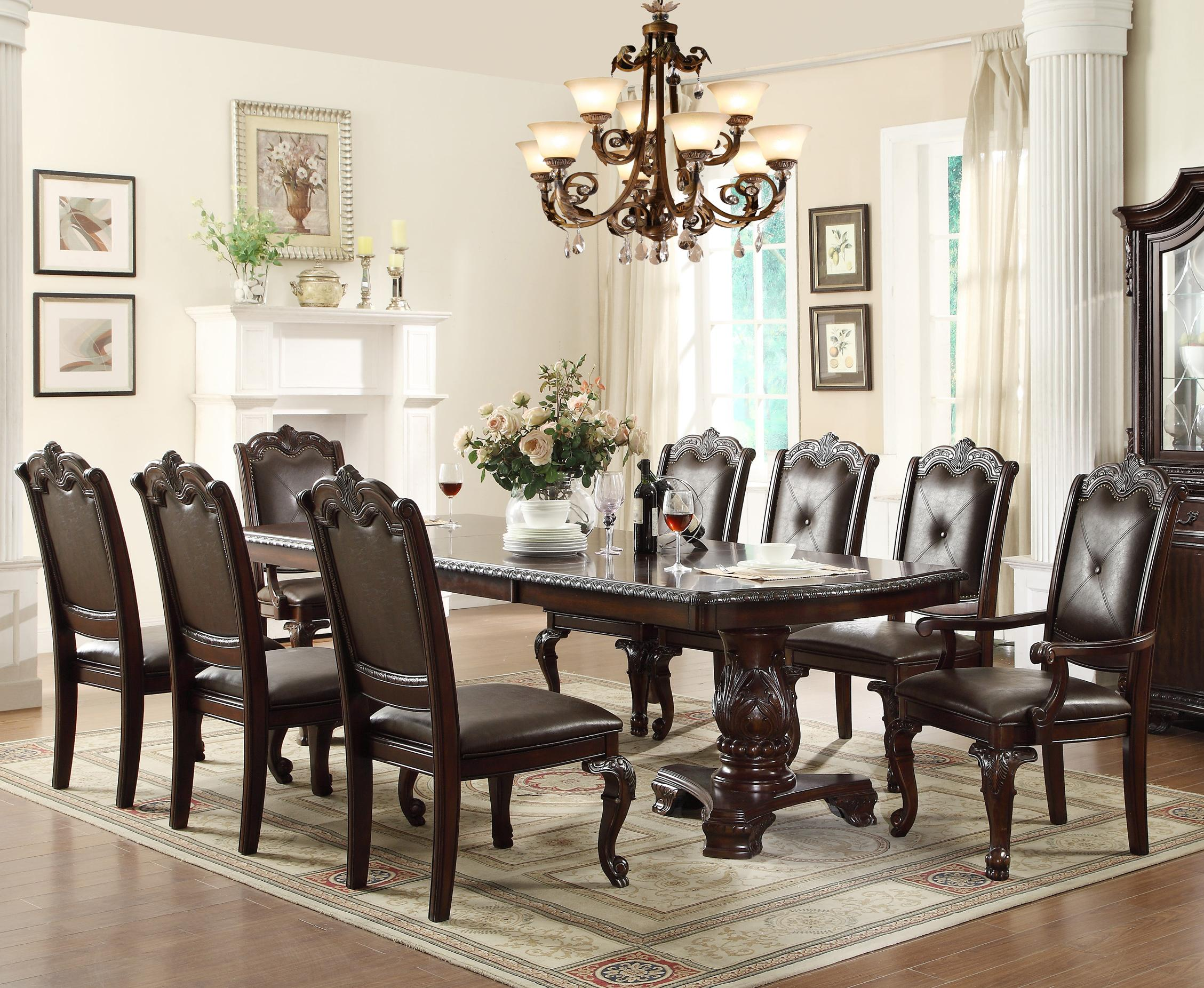 Crown Mark Kiera Dining Table Set - Item Number: 2150T-44108-LEG+TOP+2x2150A+6x2150S