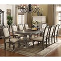 Crown Mark Kiera Dining Table Set - Item Number: 2151T-44108-LEG+TOP+2xA-GY+6xS-GY