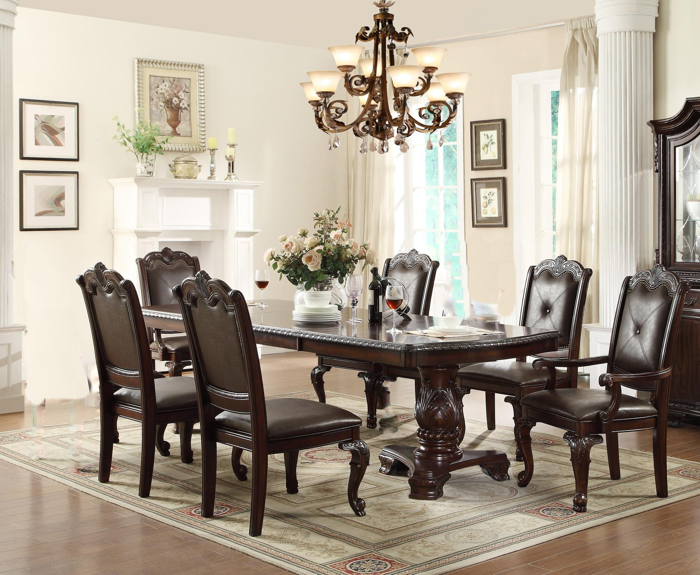 Crown Mark Kiera Dining Table with 4 Side Chairs and 2 Arm Chairs ...
