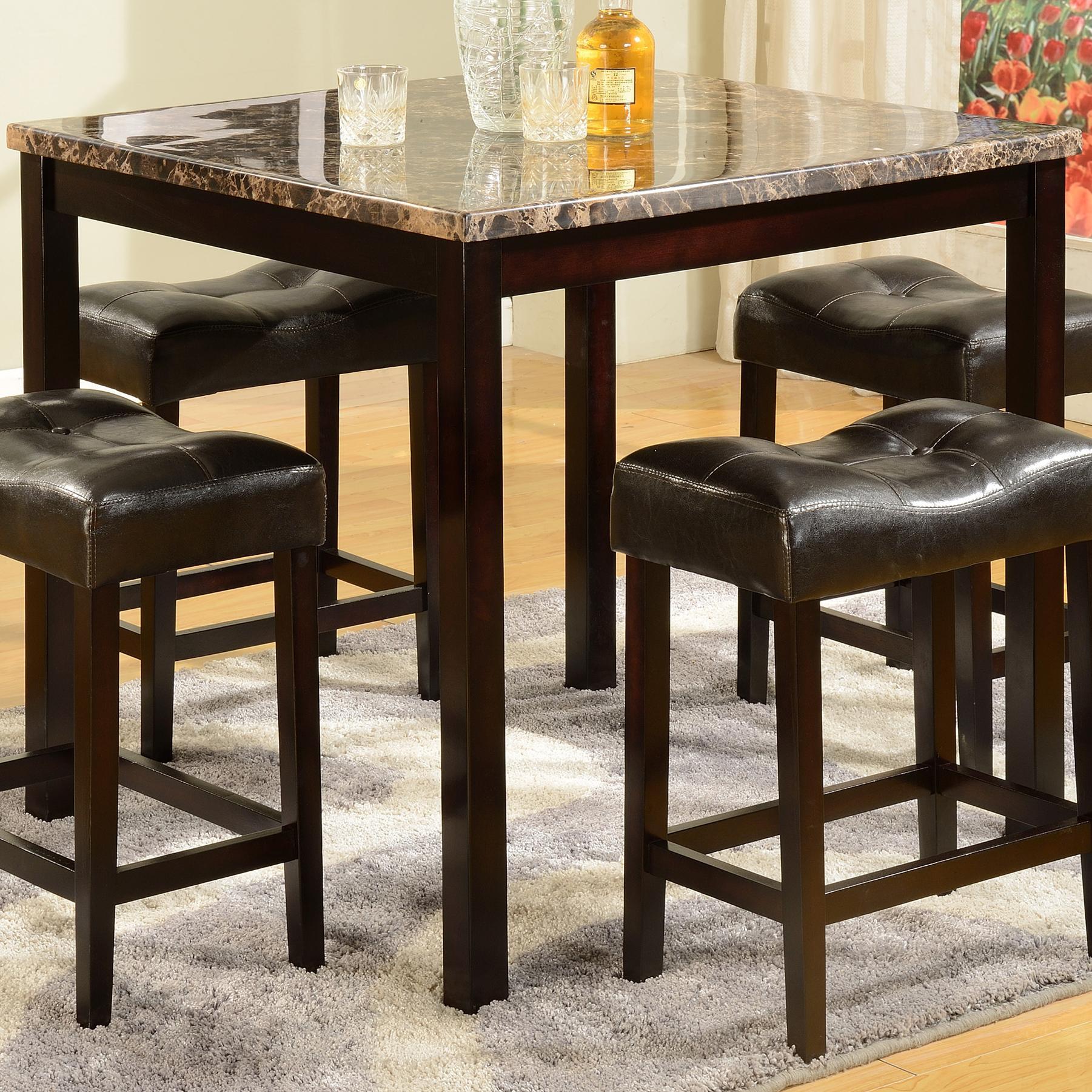 Bar Table Chairs Set Crown Mark Alyssa 3 Piece Bar Table: Crown Mark Kinsey 2773SET 5 Piece Faux Marble Counter