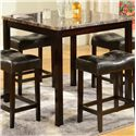Crown Mark Kinsey 5 Piece Faux Marble Counter Table & Upholstered Stool Set - Table Shown