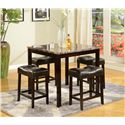 Crown Mark Kinsey 5 Piece Faux Marble Counter Table & Upholstered Stool Set - Shown in Room Setting