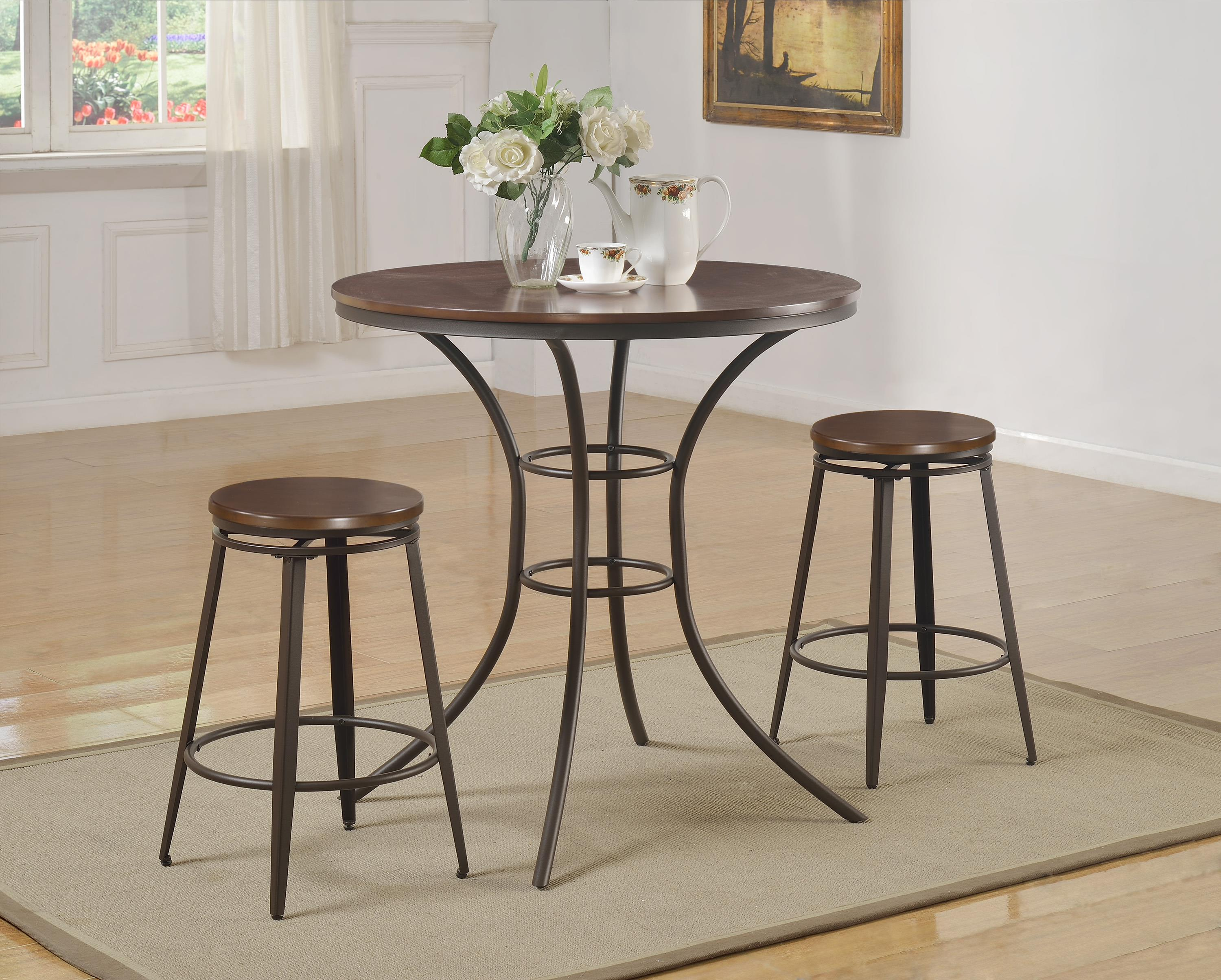 Crown Mark Kylie 3 Piece Counter Height Table and Stool Set - Item Number: 1718SET