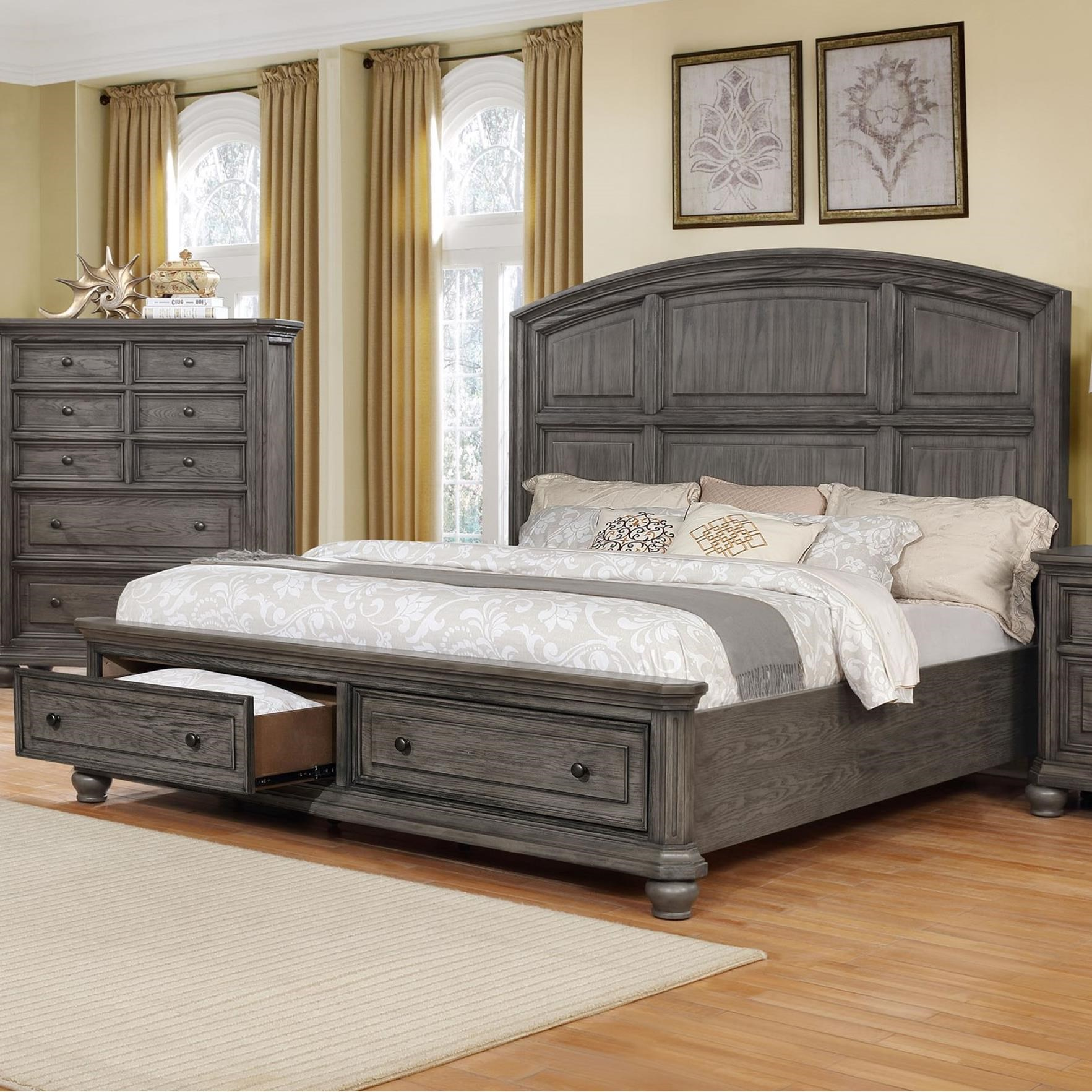 Crown Mark Lavonia Relaxed Vintage Queen Bed With Footboard Storage Royal Furniture Panel Beds