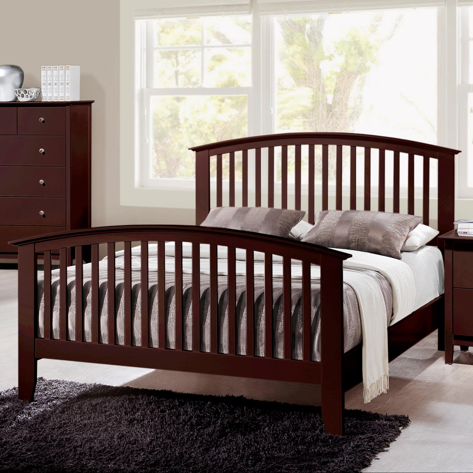 Crown Mark Lawson  Queen Slat Bed - Item Number: B7550-Q-HBFB+KQ-RAIL
