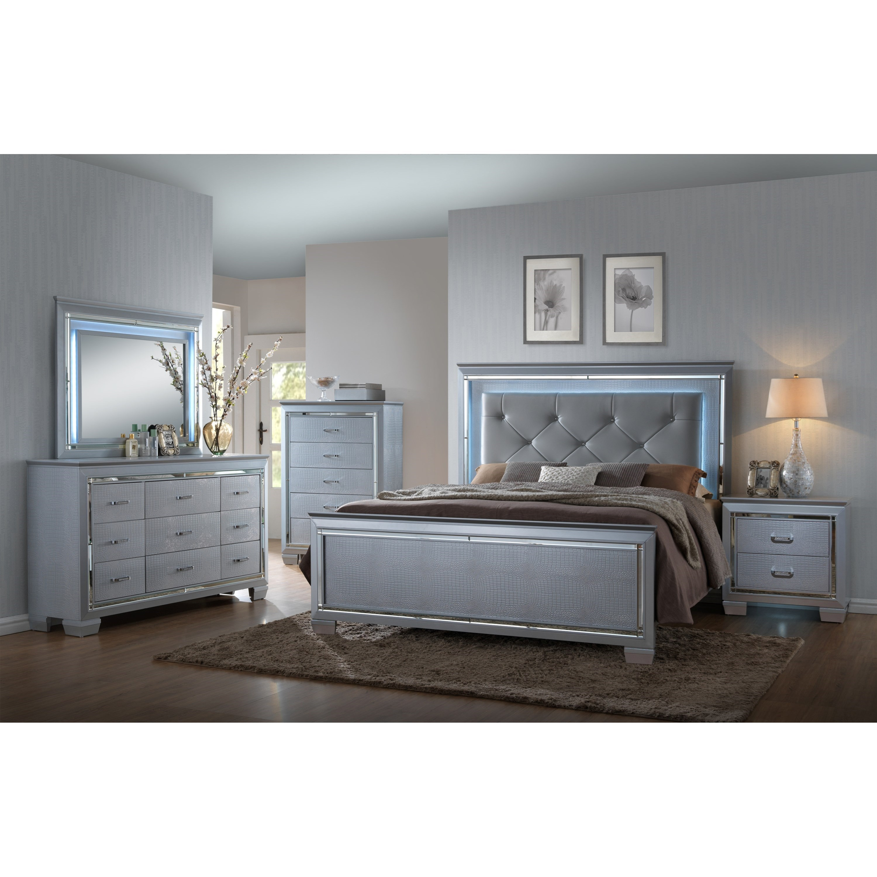 Crown Mark Lillian Dresser And Mirror Set With Led