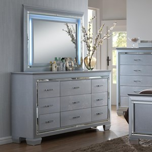Crown Mark Lillian Dresser and Mirror Set
