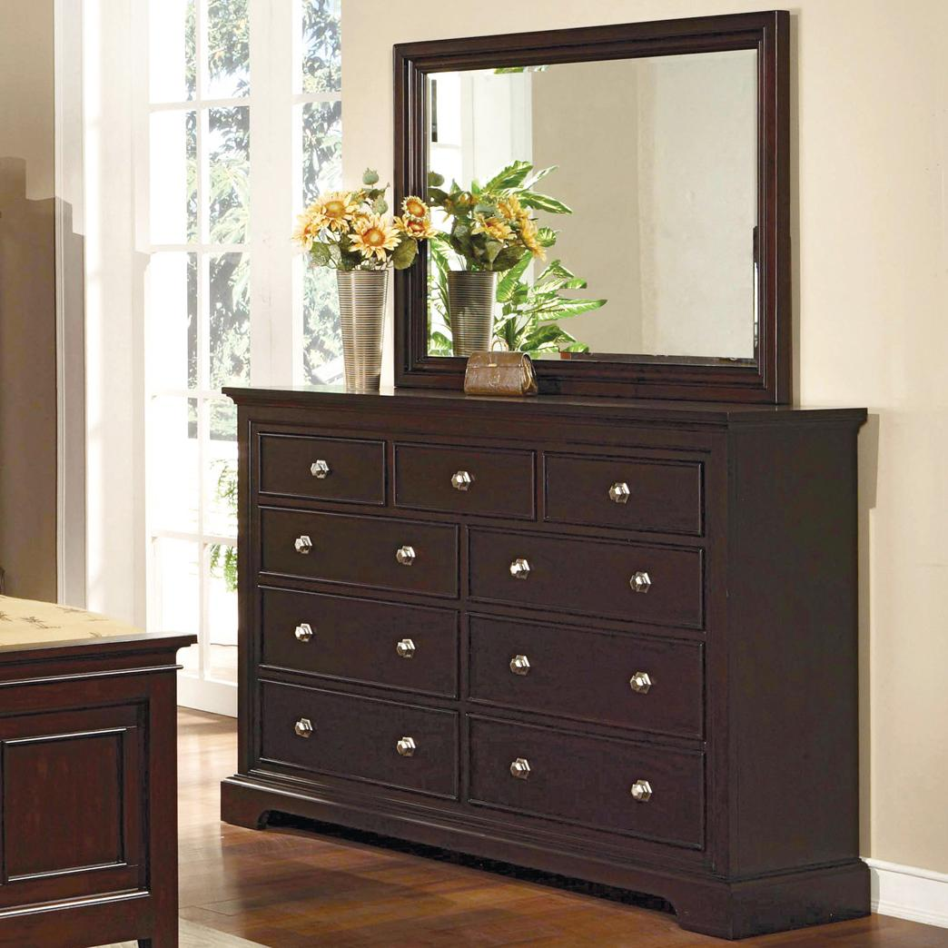 Crown Mark London 9 Drawer Dresser with Mirror Combination - Item Number: B6701+B6701-1