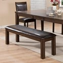 Crown Mark Lottie Dining Bench with Black Upholstered Seat