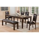 Crown Mark Lottie Dining Room Set - Item Number: 2333T-4286+2333-BENCH+4x2333S