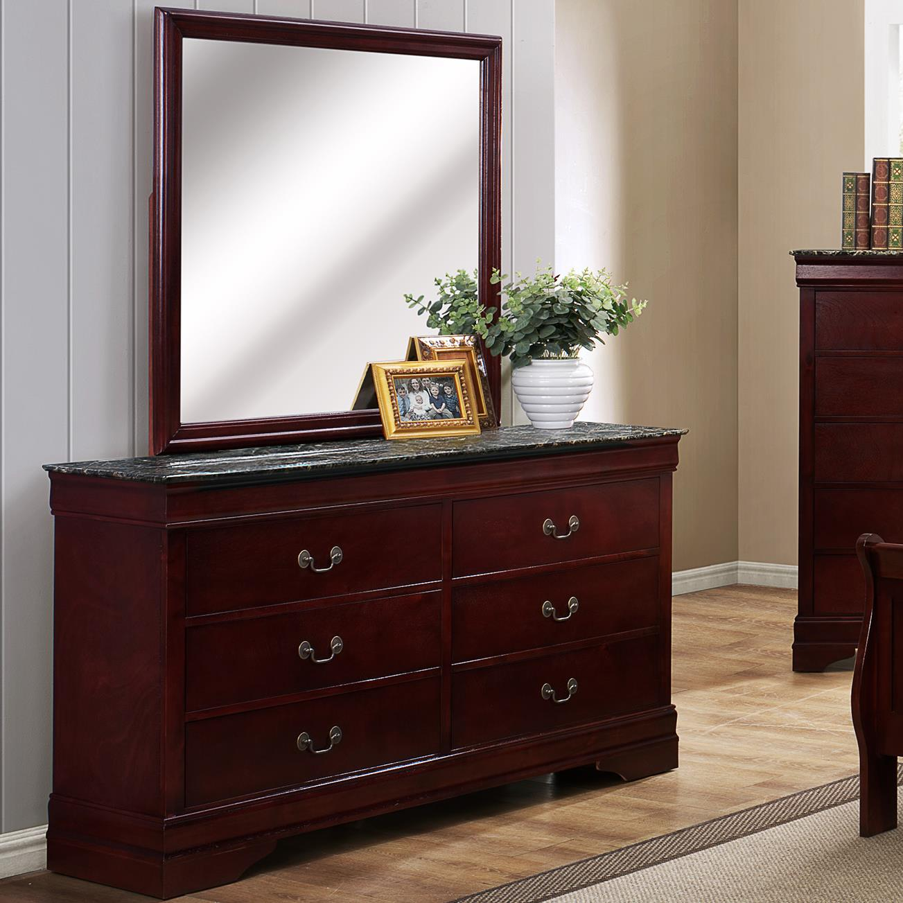 Crown Mark Louis Phillipe Dresser and Mirror Set - Item Number: B3888-1MBL+11MBL