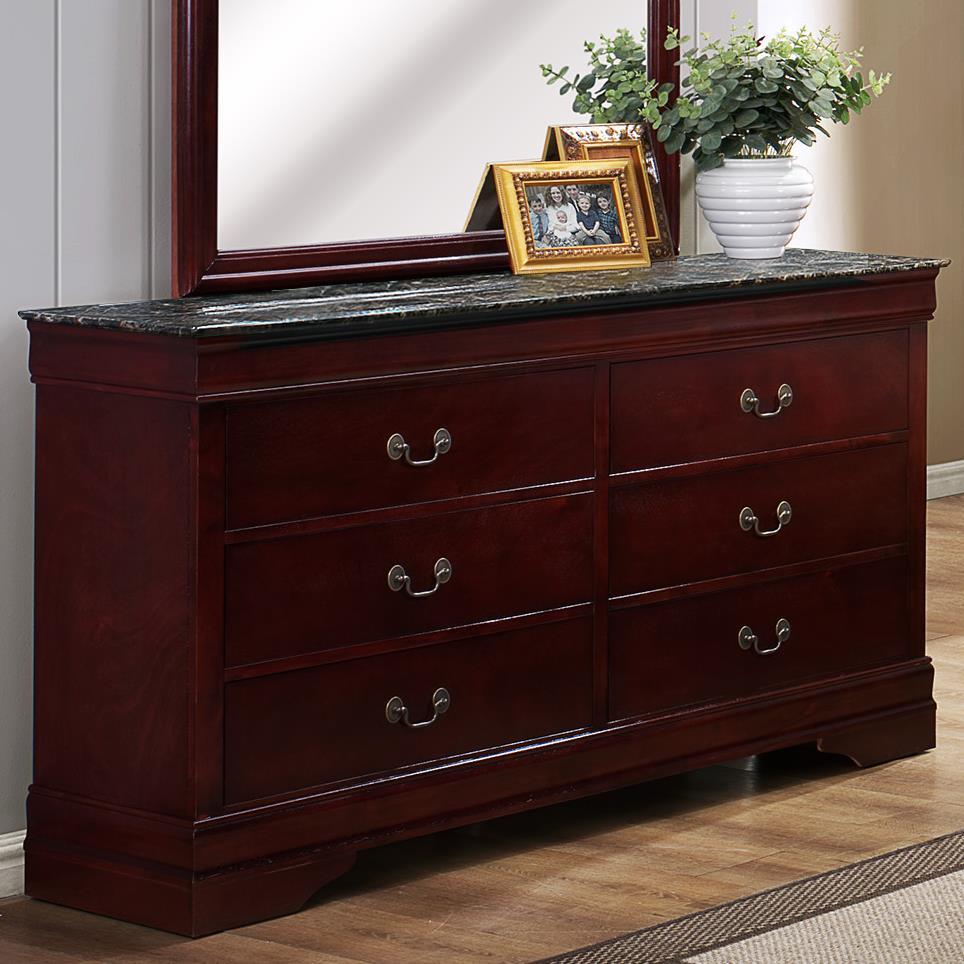 Crown Mark Louis Phillipe Six Drawer Dresser - Item Number: B3888-1MBL