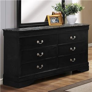 Crown Mark Louis Phillipe Six Drawer Dresser