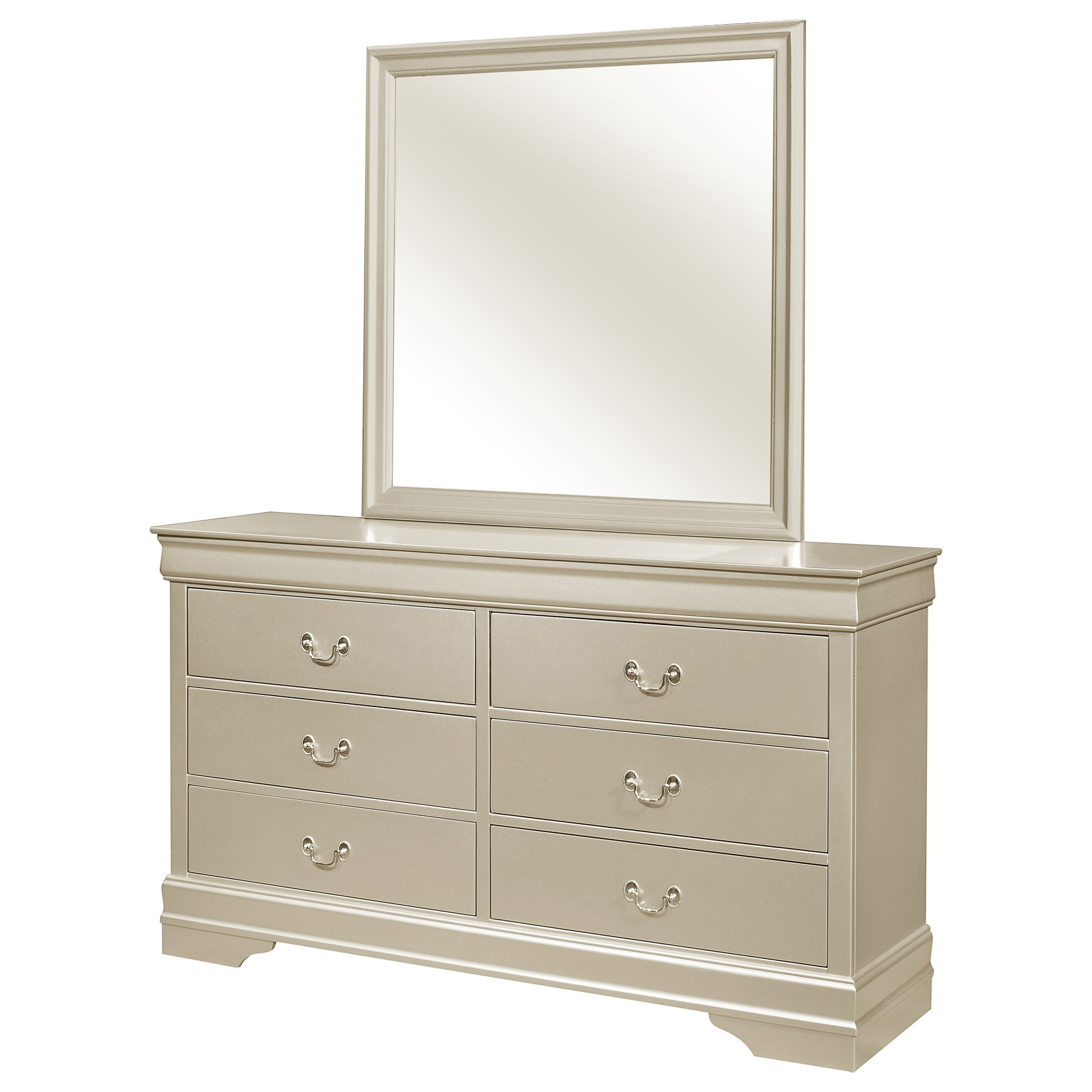 Crown Mark Louis Philip Transitional 6 Drawer Dresser With Mirror