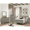 Crown Mark Louis Phillipe Gray Queen 5 Pc Bedroom Group - Item Number: B3550 Queen 5 Pc Group