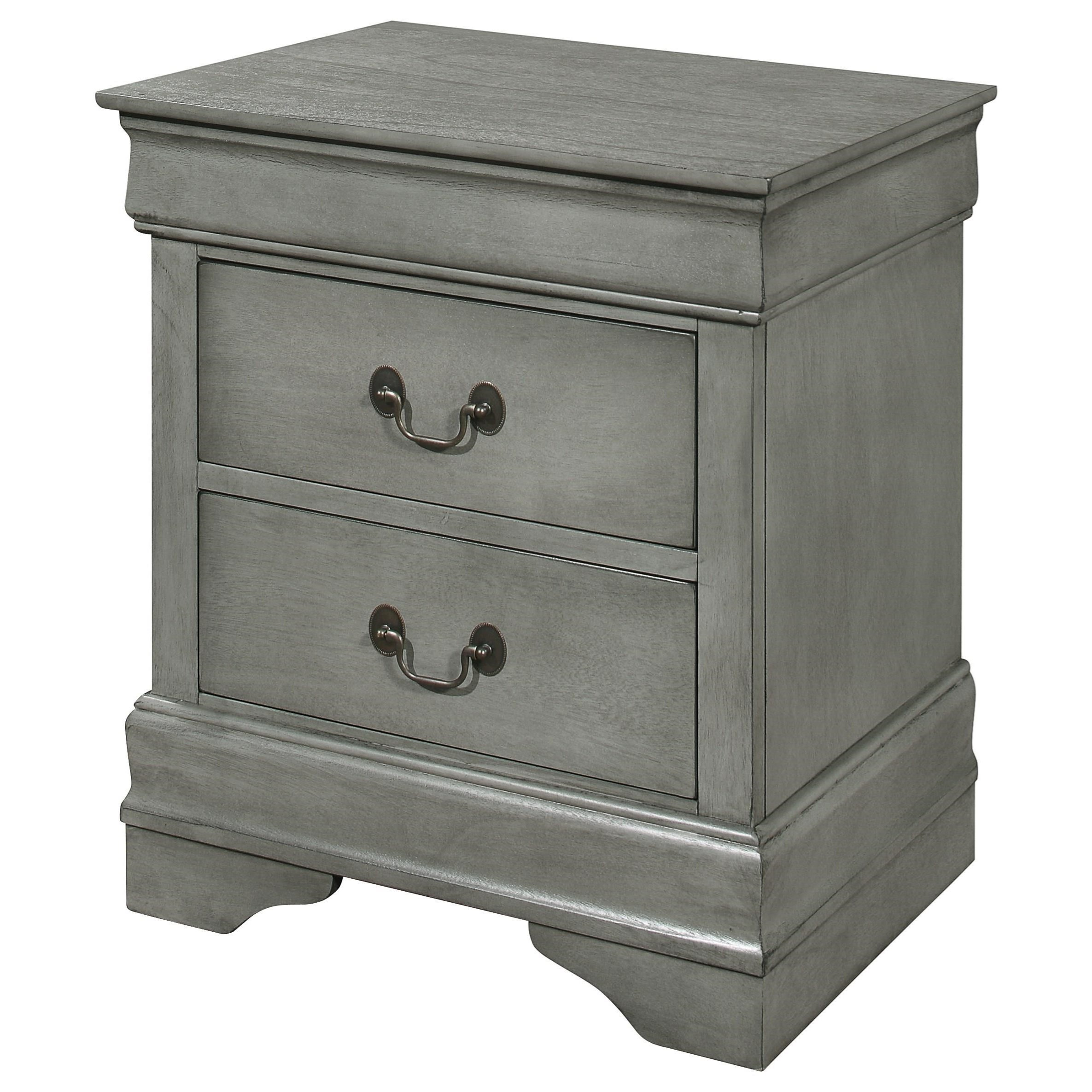 Crown Mark Louis Phillipe Gray Transitional 2 Drawer Nightstand Royal Furniture Nightstands