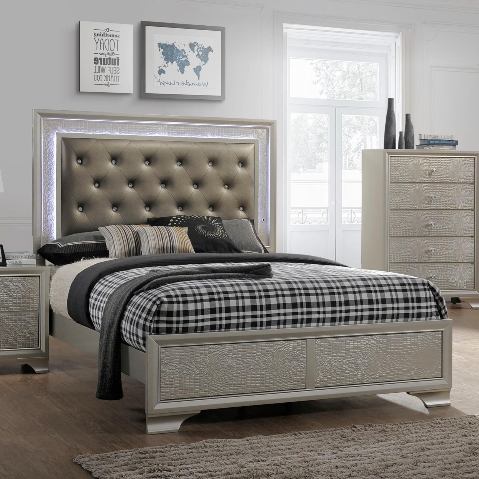 Crown Mark Lyssa Glam Queen Bed With Upholstered Led