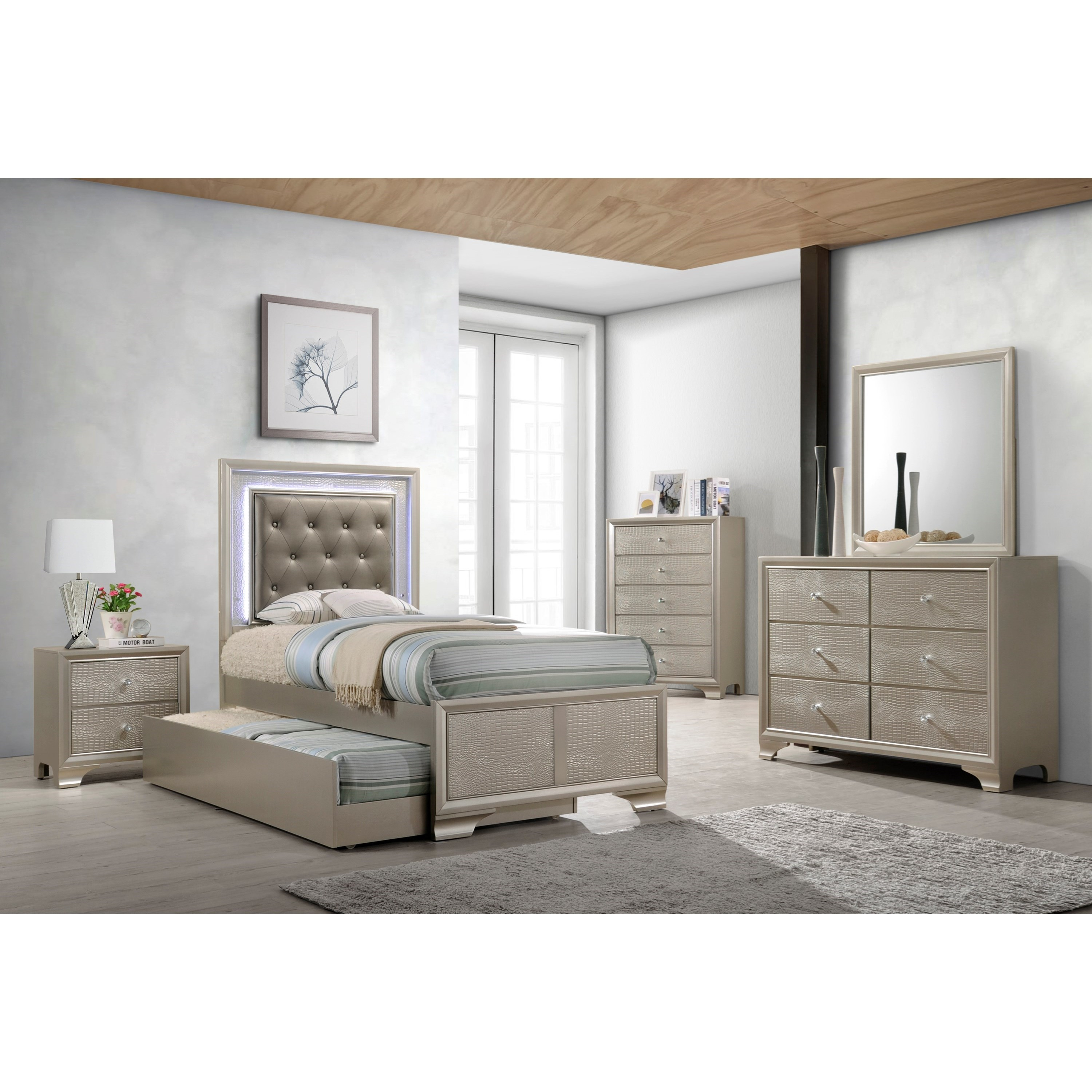 Crown Mark Farrow Queen Bedroom Group: Crown Mark Lyssa Glam Twin Bed With Upholstered LED