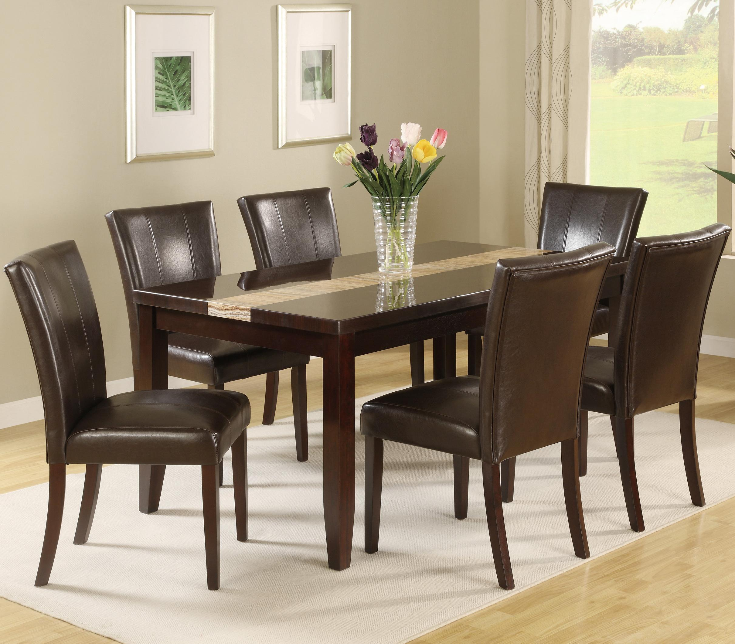 Crown Mark Madrid & Ferrara 7 Piece Dining Table Set - Item Number: 2223T-3864+6xS