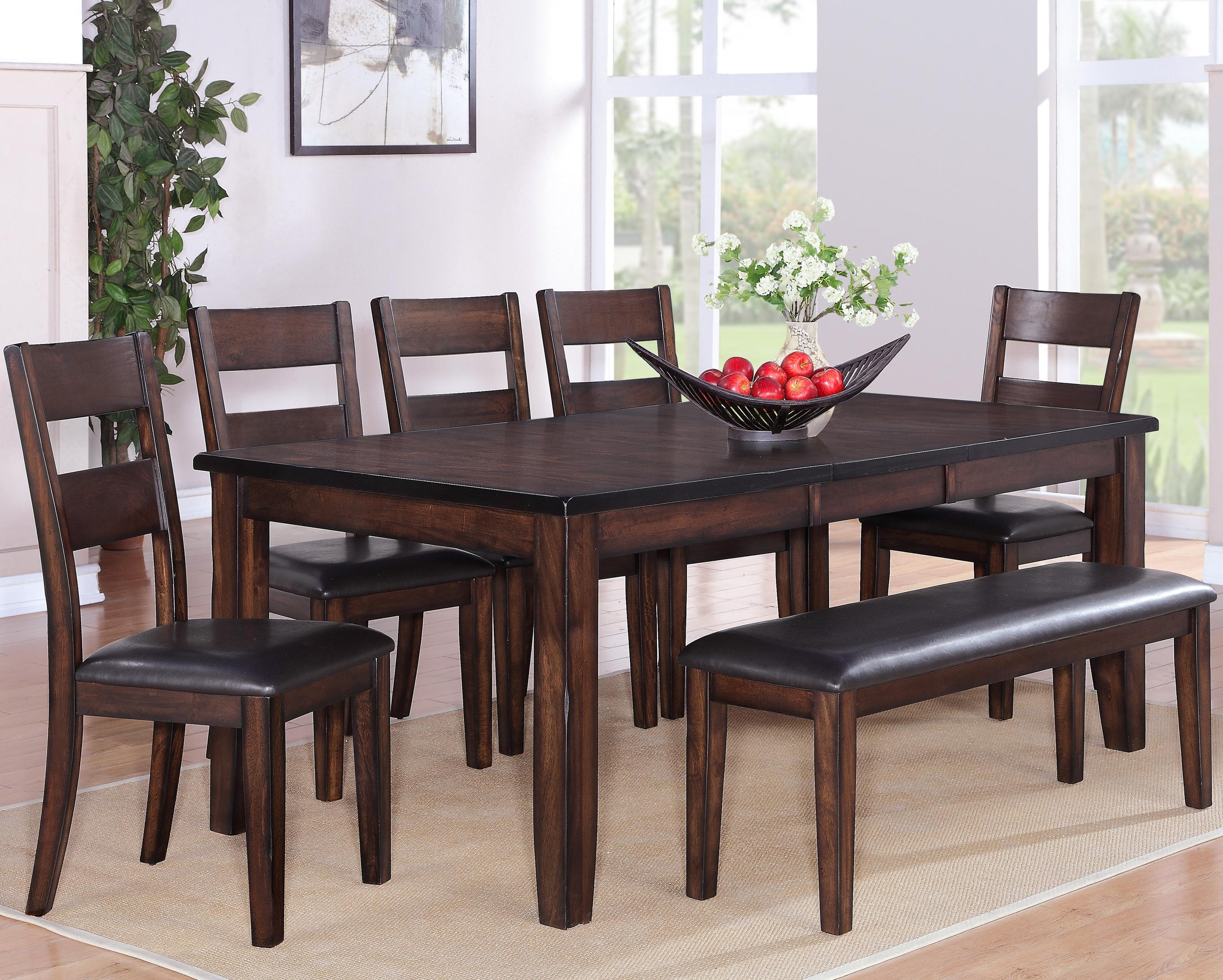 Crown Mark Maldives 7 Piece Dining Set - Item Number: 2360T-4278+5xS+BENCH