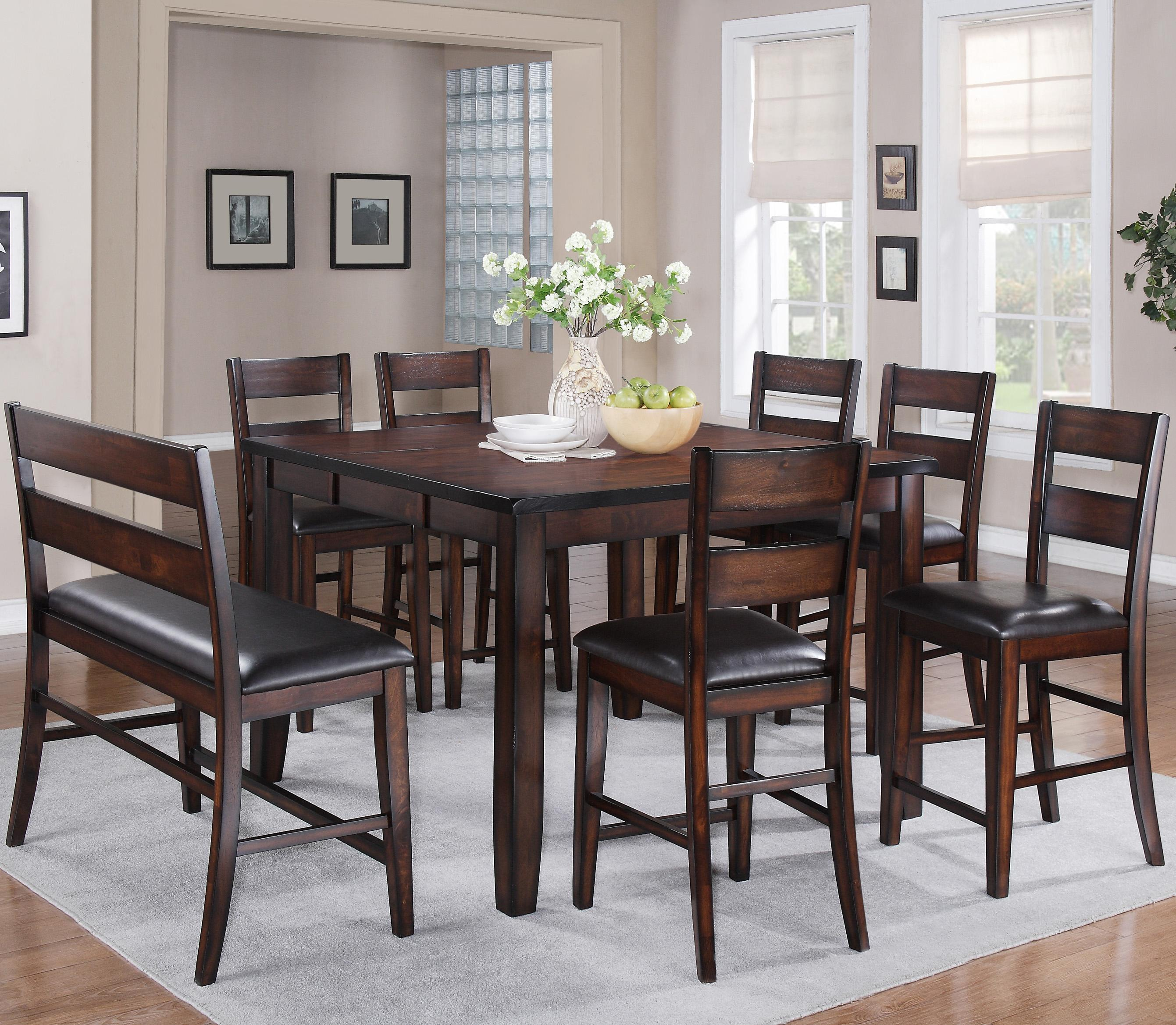 Crown Mark Maldives 8 Piece Dining Set - Item Number: 2760T-5454+6xS-24+Bench