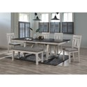 Crown Mark Maribelle 6-Piece Table and Chair Set with Bench - Item Number: 2158CG-T-TOP+LEG+4xS+BENCH