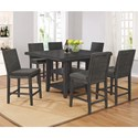 Crown Mark Matheny 5 Piece Counter Height Dining Set - Item Number: 2735T-5454+6xS-24