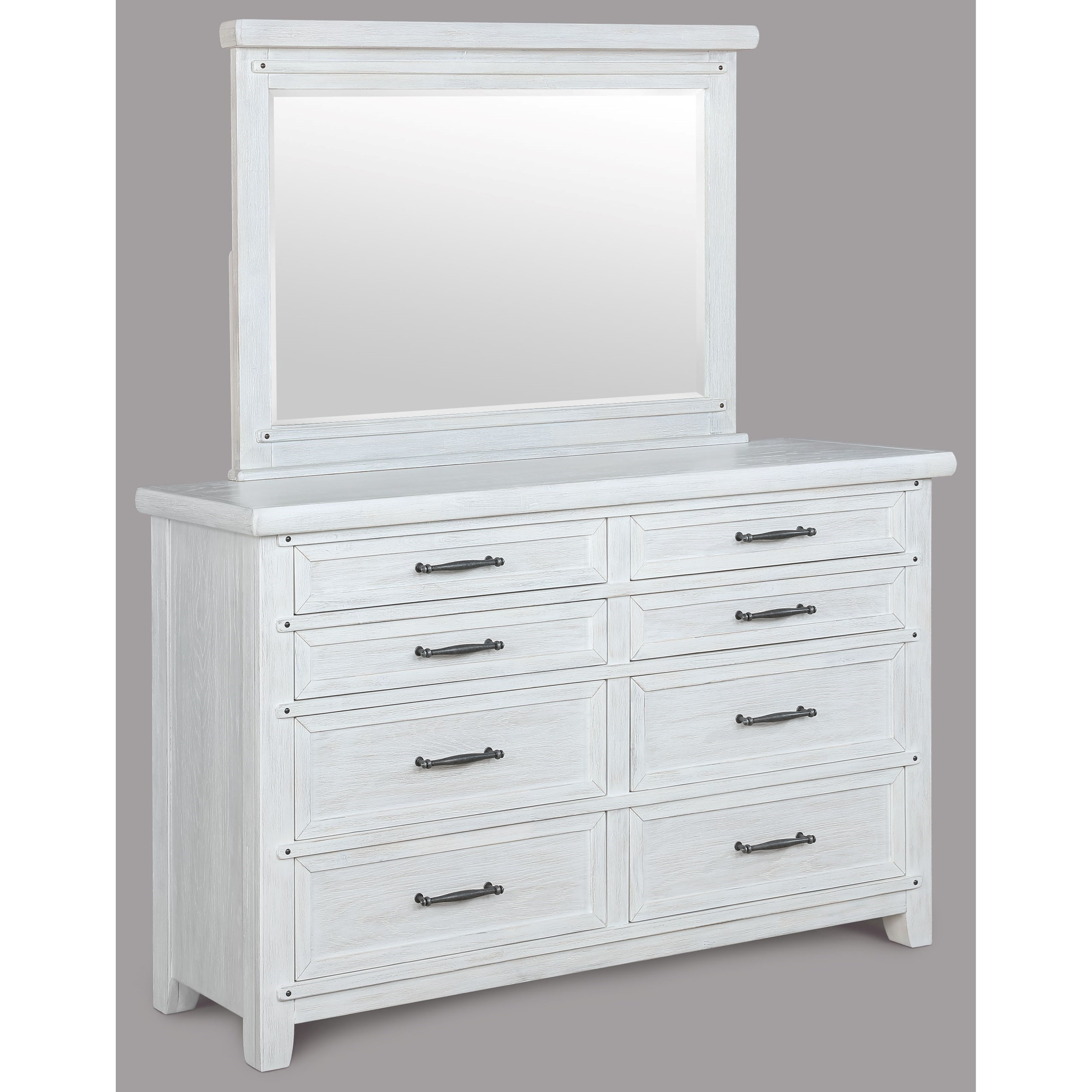 Mirror Set With Metal Drawer Pulls