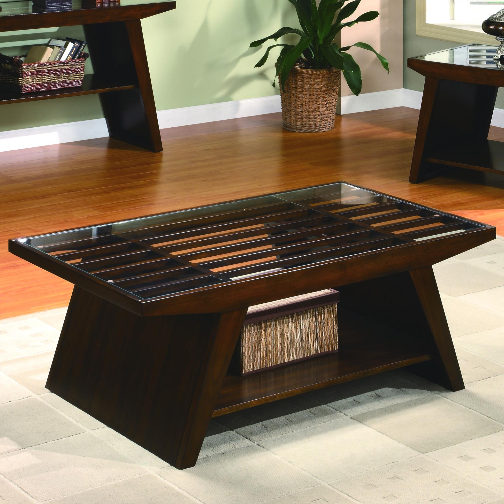 Midori Contemporary Coffee Table with Glass Top Belfort