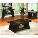 Crown Mark Midori Contemporary End Table with Glass Top - Shown with Sofa and Coffee Table
