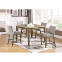 Crown Mark Mike 5 Piece Counter Height Table and Chair Set - Item Number: 2822T-4848+4xS-24