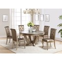 Crown Mark Mina Round Table and Chair Set - Item Number: 2166T-59-TOP+BASE+6x2166S