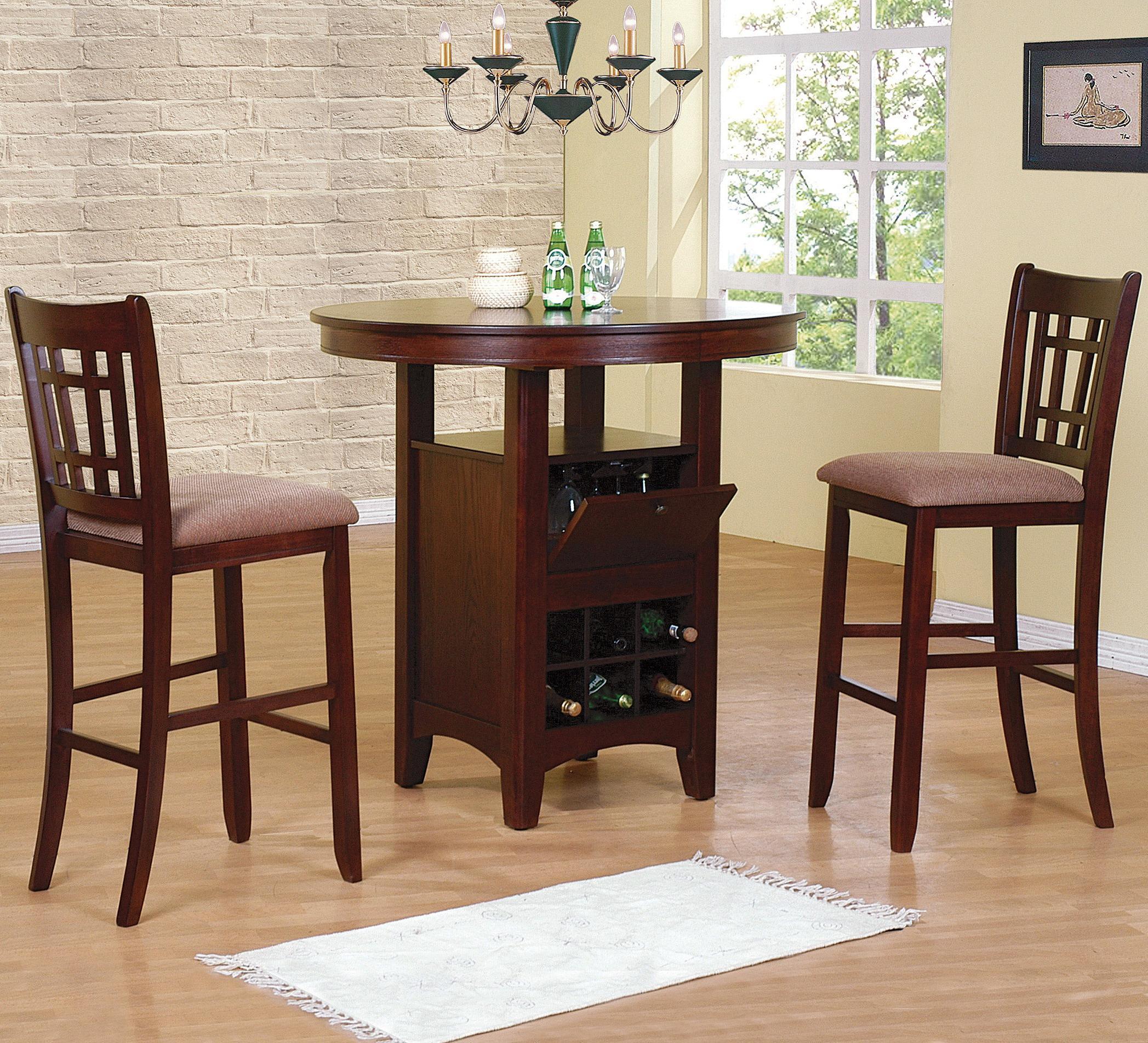 Crown Mark Miyagi 3 Piece Bar Table and Chairs Set - Item Number: 2944T-ESP-LEG+TOP+2xC-ESP