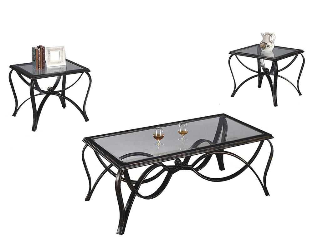 Crown Mark Monarch  Three Pack Occasional Table Set - Item Number: 3123-BASE+GL