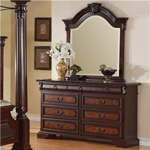 Crown Mark Neo Renaissance Dresser & Mirror Set