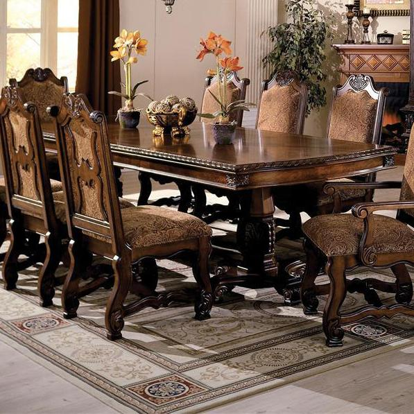 Neo Renaissance Traditional Formal Dining Upholstered Side: Crown Mark Neo Renaissance Double Pedestal Dining Table