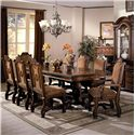 Crown Mark Neo Renaissance Dining Table and Chair Set - Item Number: 2400-LEG+TOP+2x01A+6x01S