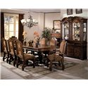 Crown Mark Neo Renaissance Dining Arm Chair with Traditional Upholstered Seat - Shown with Dining Table, Side Chairs, Buffet and Hutch