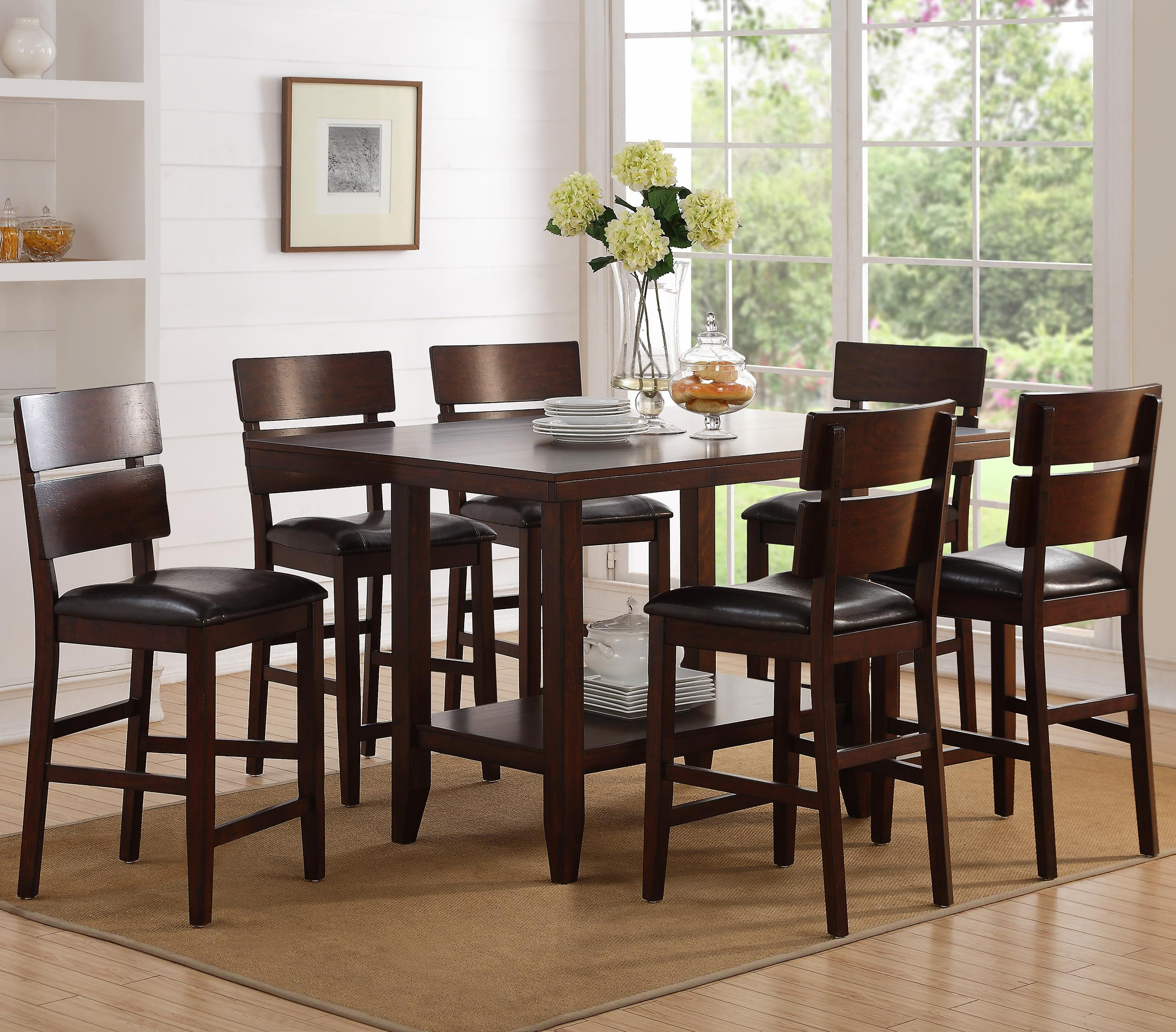 Crown Mark Newcomb Table and Chair Set - Item Number: 2709T-4258+6x2709S-24