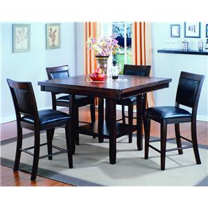 Crown Mark Fulton 5 Piece Counter Height Table and Chair Set