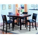 Crown Mark Fulton 5 Piece Counter Height Table and Chair Set - Item Number: 2727T-4848+4x2727SS-24