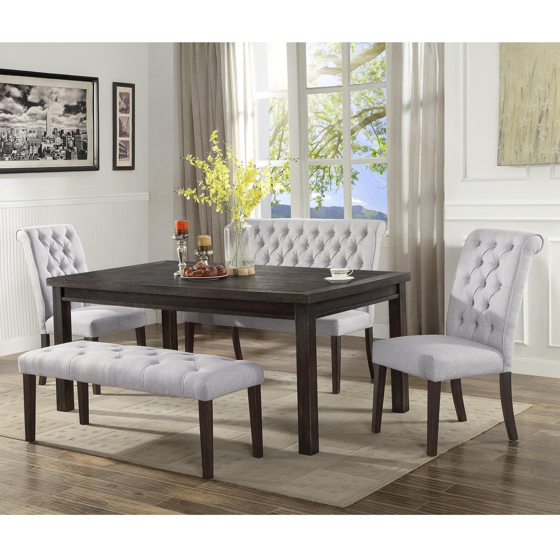 Crown Mark Palmer Dining Dining Set With Bench   Item Number: 2022T 4072+