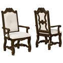 Crown Mark Pierre Traditional Carved Dining Arm Chair with Cream Upholstery