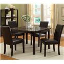 Crown Mark Pompei Upholstered Dining Side Chair with Accent Stitching - Shown with Dining Table