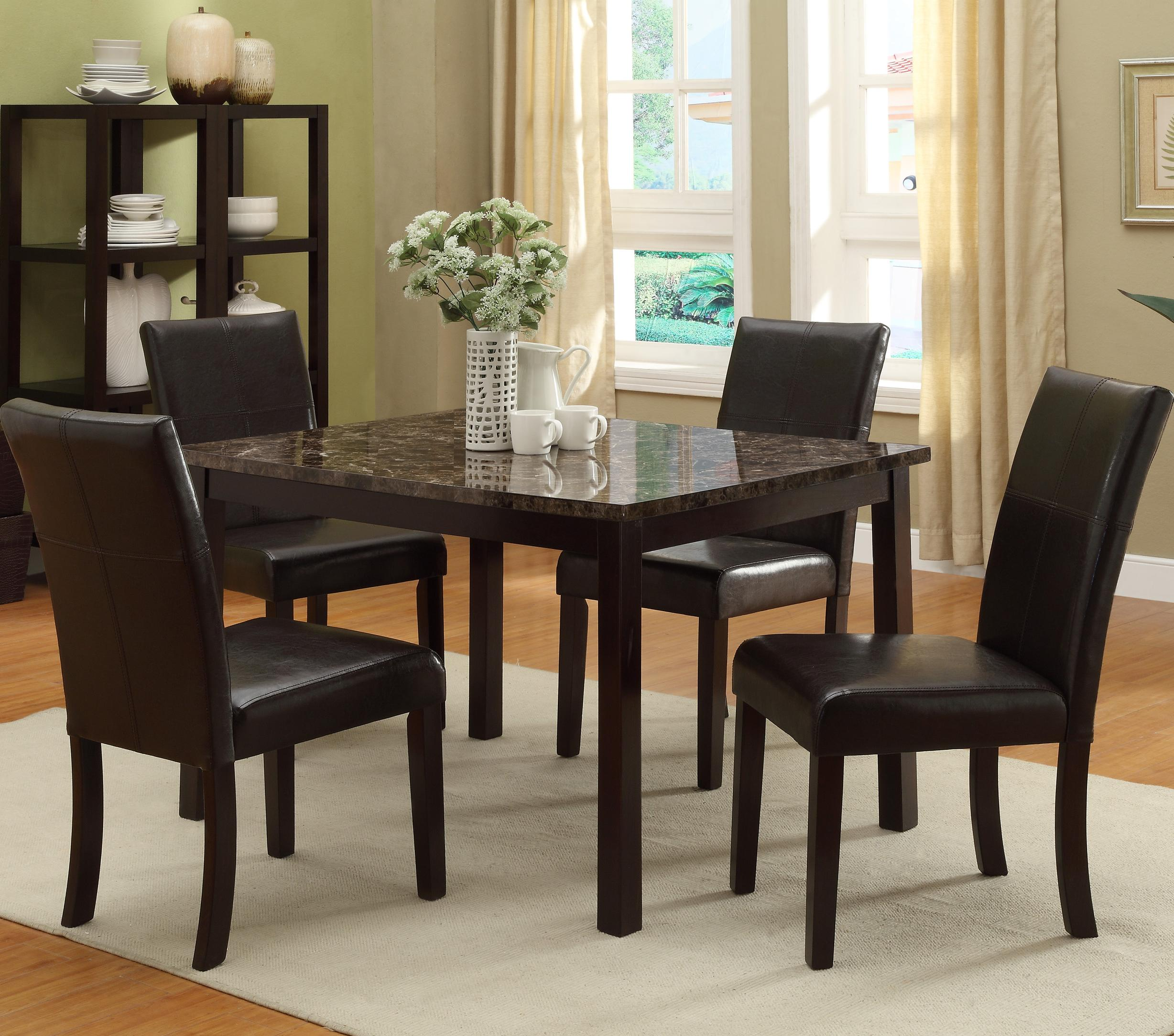 Crown Mark Pompei 5 Piece Table & Chair Set - Item Number: 2377T-3648+4x2377S